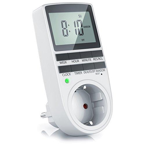 CSL - Zeitschaltuhr digital - 2,1' LCD-Display 5,3 cm - 3680W - Digital-Zeitschaltuhr mit 10 konfigurierbaren Programmen - Back-Up Reserve-Akku - Zufallsschaltung - Kinderschutzsicherung