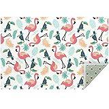 Fußmatte Tropical Flamingo Papageienblatt klein groß weicher Teppich Teppich für Zuhause Esszimmer Wohnzimmer Küche Spielzimmer Schlafzimmer Dekor 150 cm x 100 cm