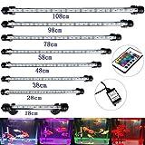 DOCEAN 48 cm Aquarium LED Beleuchtung 16 Farb RGB Steuerung Leuchte Lampe Lighting EU Stecker Wasserdicht IP68 Unterwasserleuchte für Fisch Tank